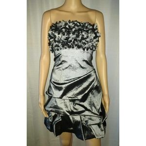 Deb Dress Medium Gray Silver Cocktail Prom Mini